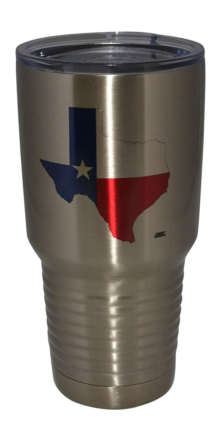 Large Texas Flag 30oz.Stainless Steel Travel Tumbler Mug Cup w/Lid Vacuum Insulated Hot or Cold - Tumblers - Rogue River Tactical  - Rogue River Tactical