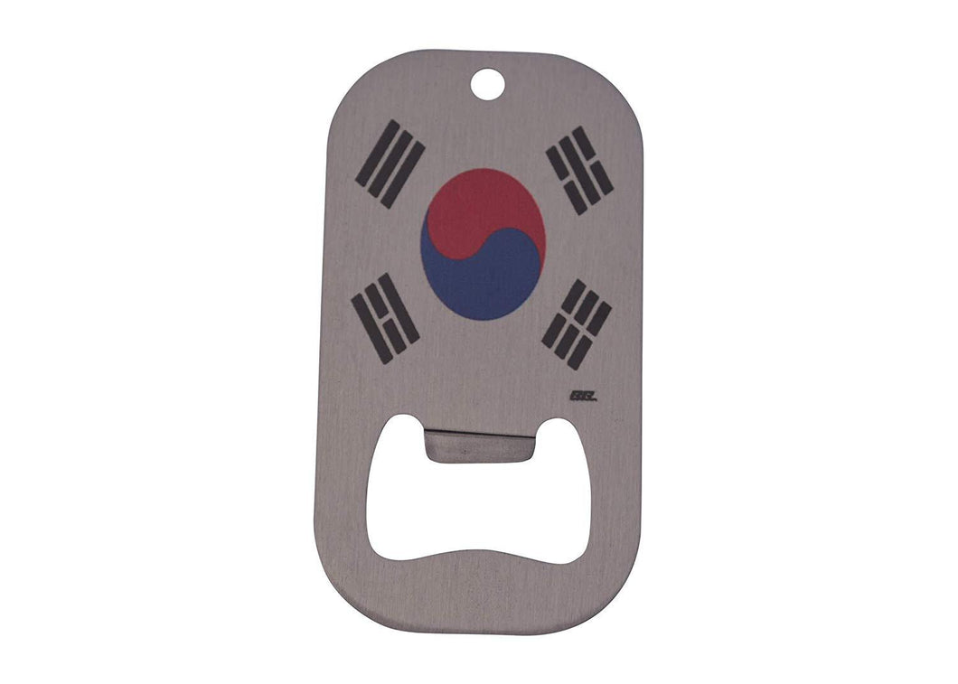 An image of a small, stainless steel bottle opener from Nuddamakers with an image of the South Korean flag on it.