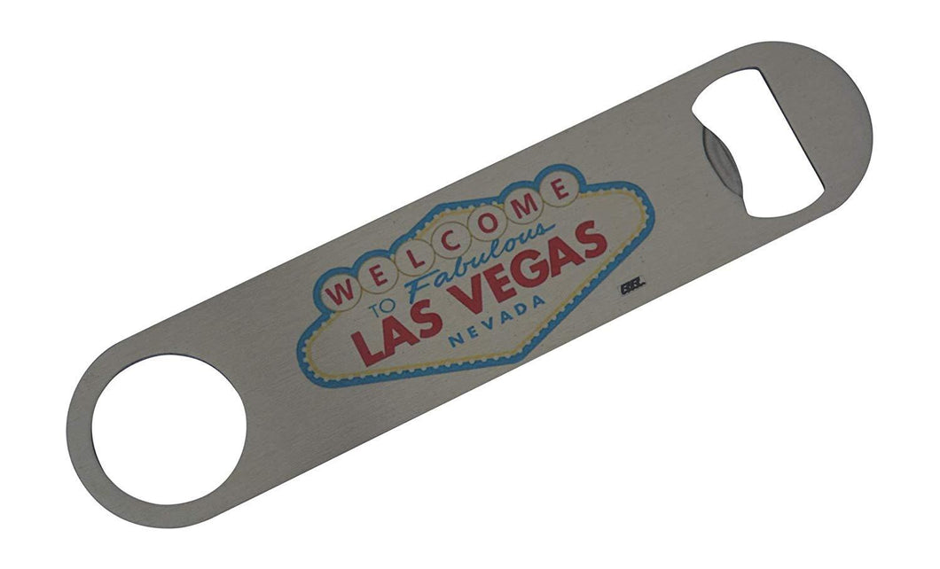 An image of a speed bottle opener from Nuddamakers with the famous 'Welcome to Las Vegas' sign on it.