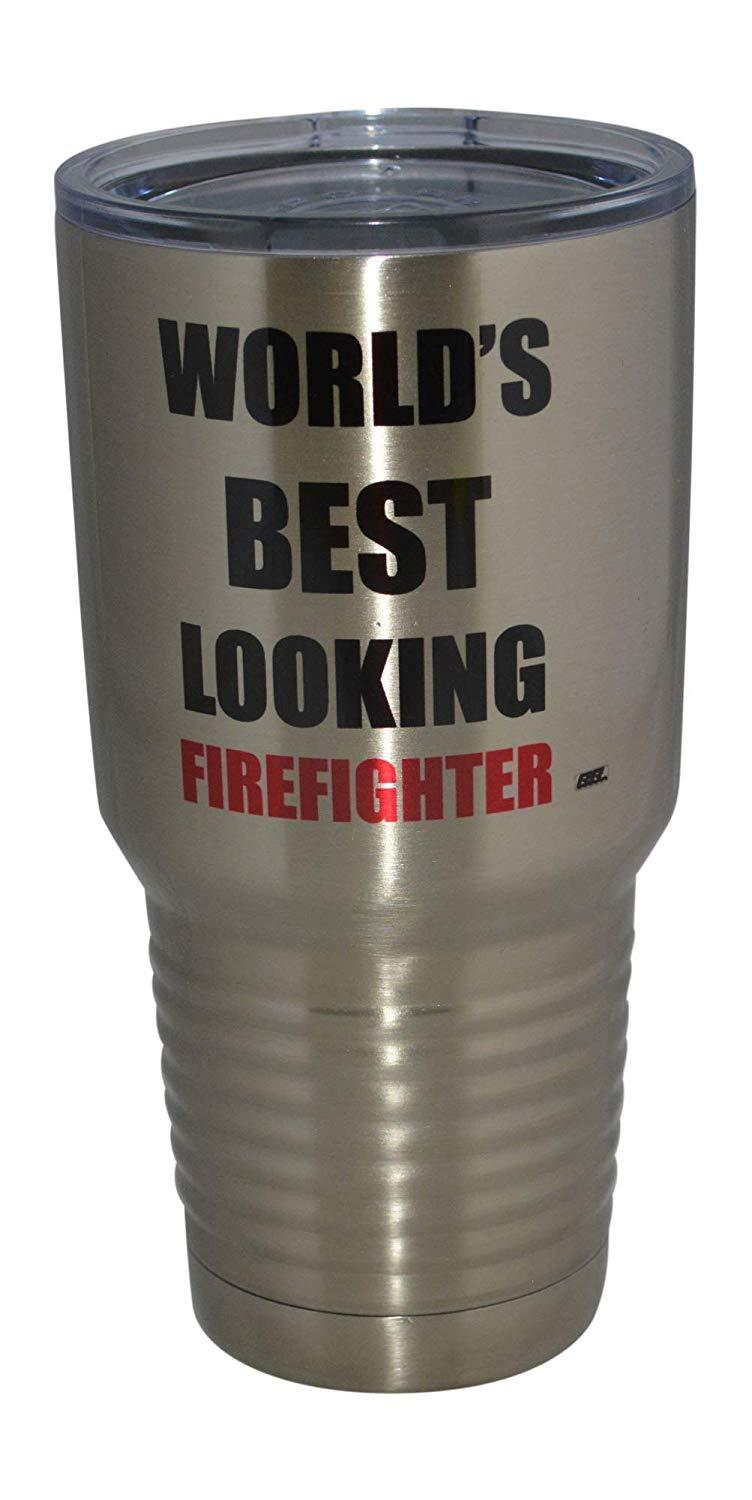 Large Funny Firefighter 30oz.Travel Tumbler Mug Cup w/Lid Best Looking Fire Fighter Department FD Fireman Gift - Tumblers - Rogue River Tactical  - Rogue River Tactical