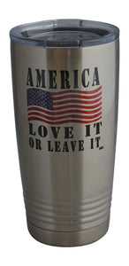 America Love It 20 Oz Travel Tumbler Mug Cup w/Lid Stainless Steel Hot or Cold Military Veteran Gift - Tumblers - Rogue River Tactical  - Rogue River Tactical
