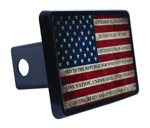 Rogue River Tactical USA American Flag Trailer Hitch Cover Plug US Patriotic Vintage Pledge of Allegiance - Hitch Covers - Rogue River Tactical  - Rogue River Tactical