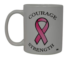 Best Coffee Mug Pink Ribbon Cancer Survivor Courage Strength Novelty Cup Great Gift Idea For Breast cancer Awareness Her Women Mom Grandmother (Courage) - Coffee Mugs - Rogue River Tactical  - Rogue River Tactical