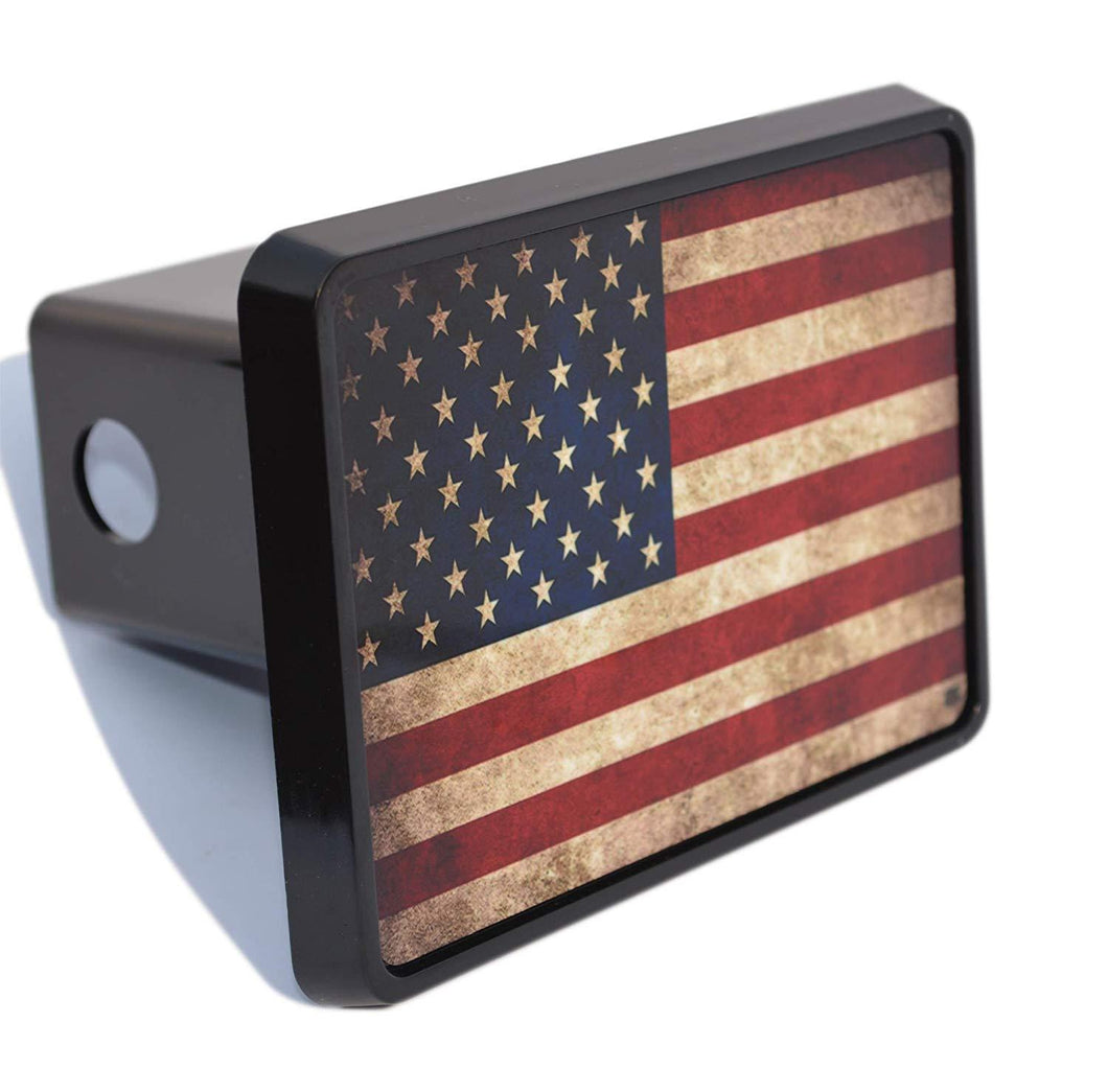 Rogue River Tactical USA American Flag Trailer Hitch Cover Plug US Patriotic Vintage Rustic Flag - Hitch Covers - Rogue River Tactical  - Rogue River Tactical