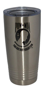 POW MIA Military Veteran 20 Oz Travel Tumbler Mug Cup w/Lid Stainless Steel Hot or Cold Gift - Tumblers - Rogue River Tactical  - Rogue River Tactical