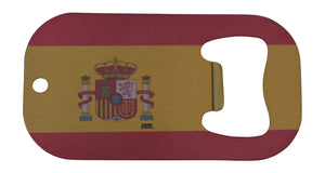 An image of a small, stainless steel bottle opener from Nuddamakers with an image of the Spanish flag on it.
