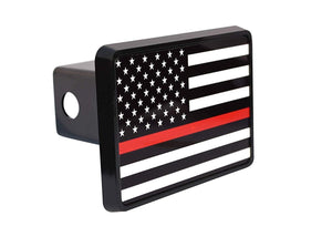 Rogue River Tactical Thin Red Line Flag Trailer Hitch Cover Plug US Firefighter Fire Fighter Truck Department FD - Hitch Covers - Rogue River Tactical  - Rogue River Tactical