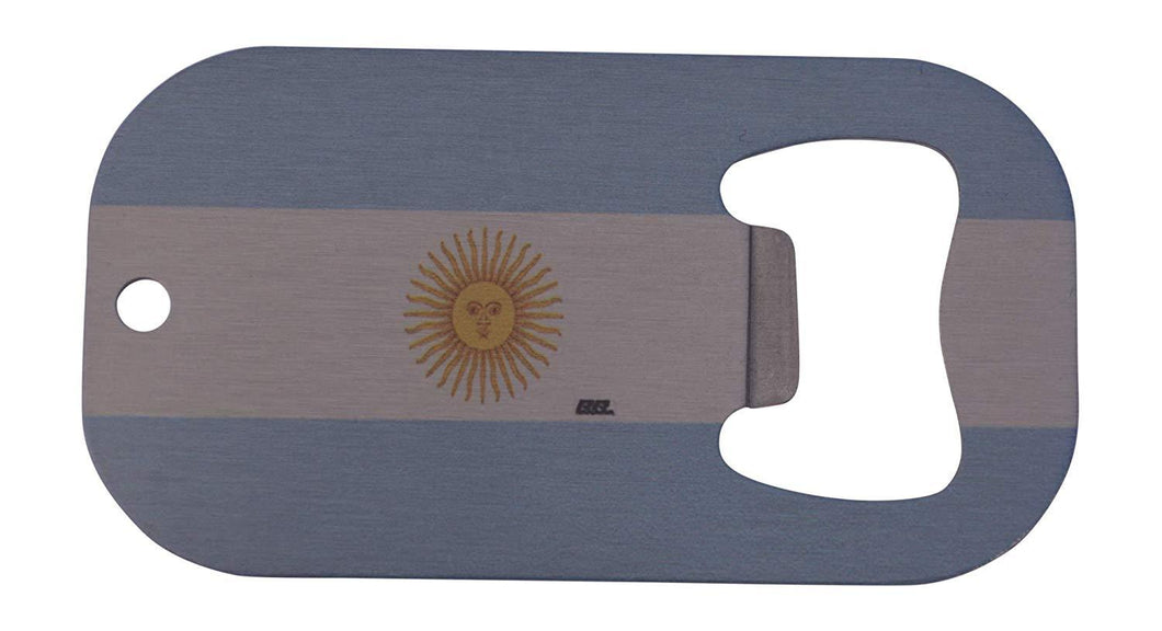 An image of a small, stainless steel bottle opener from Nuddamakers that has the flag of Argentina on it.