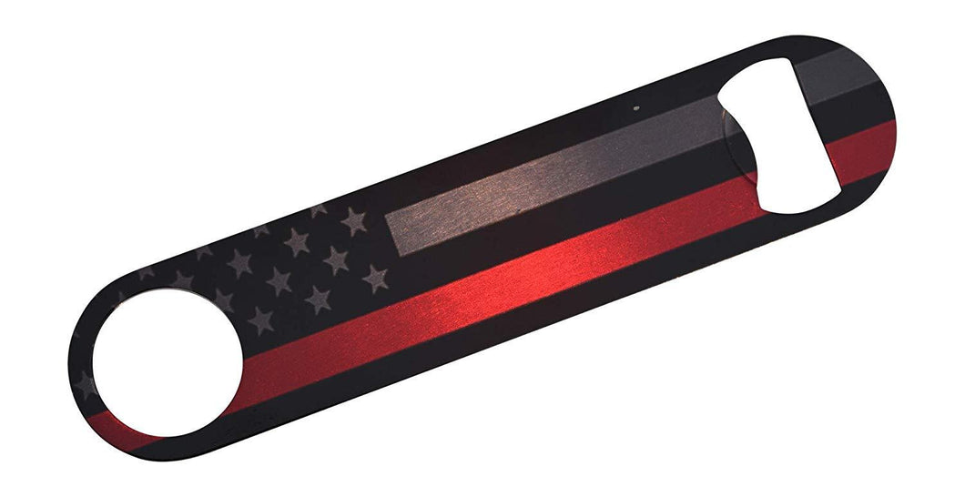 Firefighter Thin Red Line Flag Subdued Speed Bottle Opener Heavy Duty Gift For Fire Fighter Department FD - Bottle Openers - Rogue River Tactical  - Rogue River Tactical