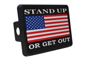 Rogue River Tactical USA American Flag Trailer Hitch Cover Plug US Patriotic Stand Up Or Get Out - Hitch Covers - Rogue River Tactical  - Rogue River Tactical