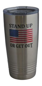 Stand Up USA Flag 20 Oz Travel Tumbler Mug Cup w/Lid Stainless Steel Hot or Cold Military Veteran Gift - Tumblers - Rogue River Tactical  - Rogue River Tactical