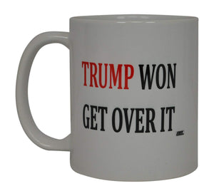 Donald Trump Coffee Mug Trump Won Get Over It Republican Conservative The President On The United States Heart Flag Novelty Cup Gift Idea MAGA - Coffee Mugs - Rogue River Tactical  - Rogue River Tactical