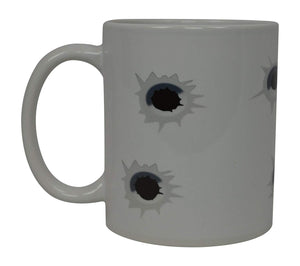 Best Funny Coffee Mug Bullet Holes Novelty Cup Joke Great Gag Gift Idea For Men Women Office Work Adult Humor Employee Boss Coworkers (Bullet) - Coffee Mugs - Rogue River Tactical  - Rogue River Tactical