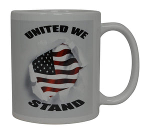 Best Coffee Mug USA Flag United We Stand American Patriot Novelty Cup Great Gift Idea For Men Dad Father Husband Military Veteran Conservative - Coffee Mugs - Rogue River Tactical  - Rogue River Tactical