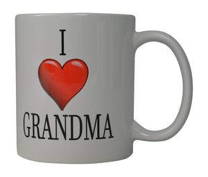 Best Funny Coffee Mug I Love Grandma Heart Novelty Cup Great Gift Idea For Grandmother Grandparent - Coffee Mugs - Rogue River Tactical  - Rogue River Tactical