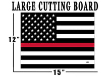The Thin Red Line Flag Glass Cutting Board Decorative Gift For Firefighter Fire Department FD Design - Cutting Boards - Rogue River Tactical  - Rogue River Tactical