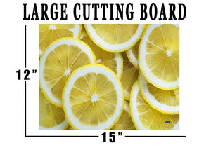 Cute Lemons Kitchen Glass Cutting Board Decorative Gift For Grandma Wife Mom Lemon Design - Cutting Boards - Rogue River Tactical  - Rogue River Tactical