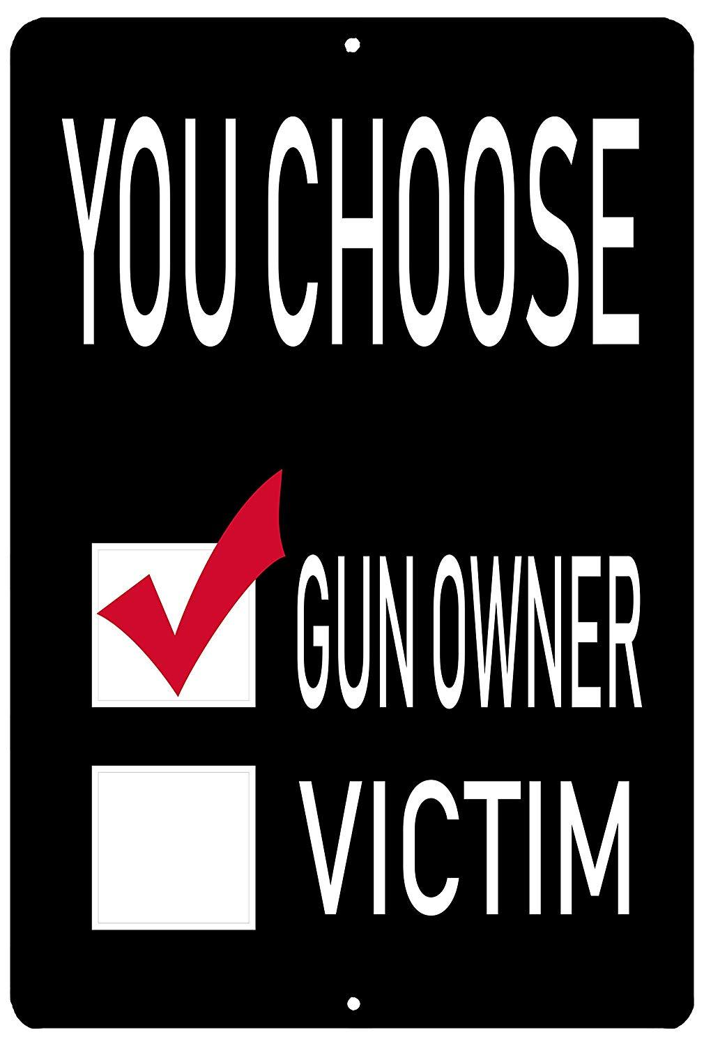 Funny Pro 2nd Amendment Metal Tin Sign Wall Decor Man Cave Bar You Choose Gun Owner - Funny Signs - Rogue River Tactical  - Rogue River Tactical
