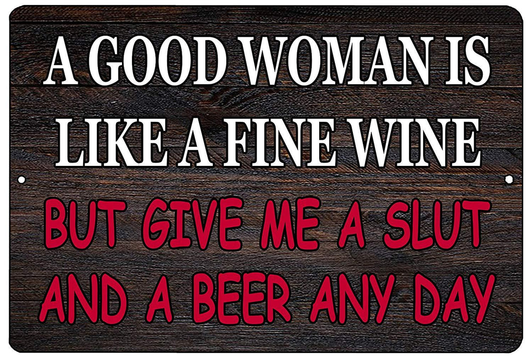 Funny Sarcastic Metal Tin Sign Wall Decor Man Cave Bar Good Woman Beer Drinking - Mancave Signs - Rogue River Tactical  - Rogue River Tactical