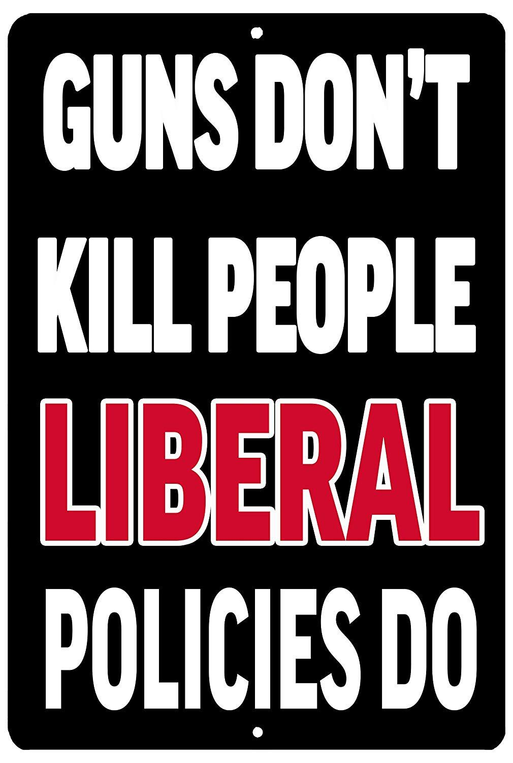 Funny Pro 2nd Amendment Metal Tin Sign Man Cave Gun's Don't Kill People - Funny Signs - Rogue River Tactical  - Rogue River Tactical