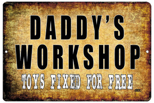 Funny Dad Repair Shop Metal Tin Sign Wall Decor Garage Man Cave Daddy's Workshop - Mancave Signs - Rogue River Tactical  - Rogue River Tactical