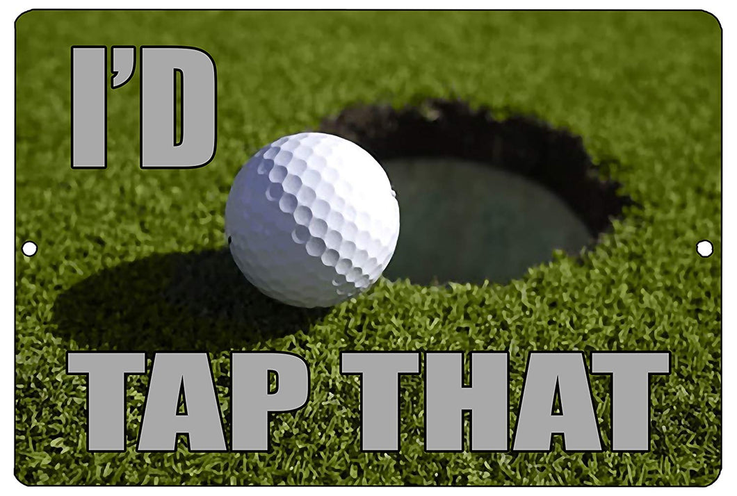 An image of an aluminum sign with a golf green background and a golf ball next to a hole with gray lettering