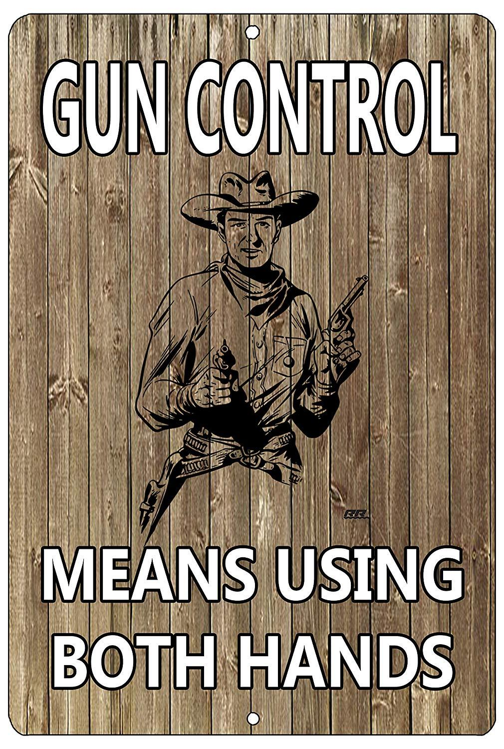 Funny Pro Gun Metal Tin Sign Wall Decor Man Cave Bar Gun Control Means Using Both Hands - Funny Signs - Rogue River Tactical  - Rogue River Tactical