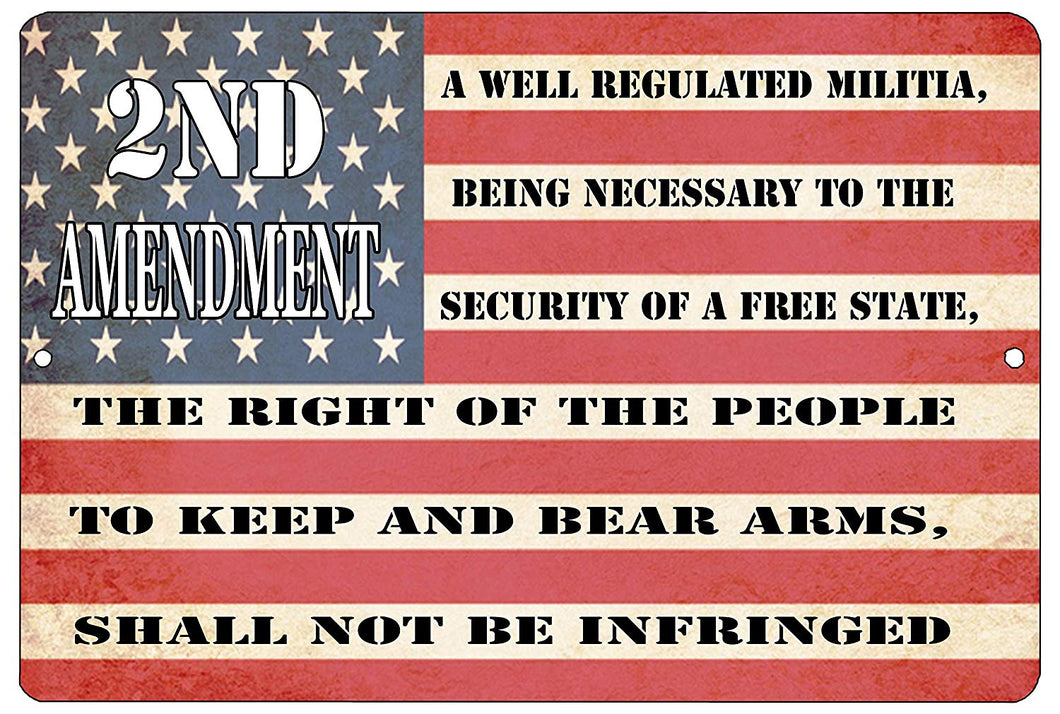 "An image of a military sign from Nuddamakers that has an American flag background and says ""2nd Amendment: A well regulated militia, being necessary to the security of a free state, the right of the people to keep and bear arms, shall not be infringed"" in black writing along the stripes of the flag"