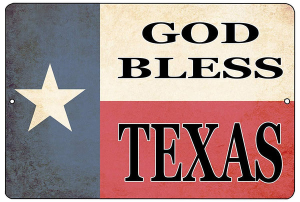 Texas State Flag Metal Tin Sign Wall Decor Man Cave Bar Texans Lone Star God Bless Texas - Patriotic Signs - Rogue River Tactical  - Rogue River Tactical