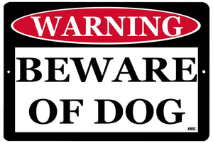 black and white beware of dog metal warning sign