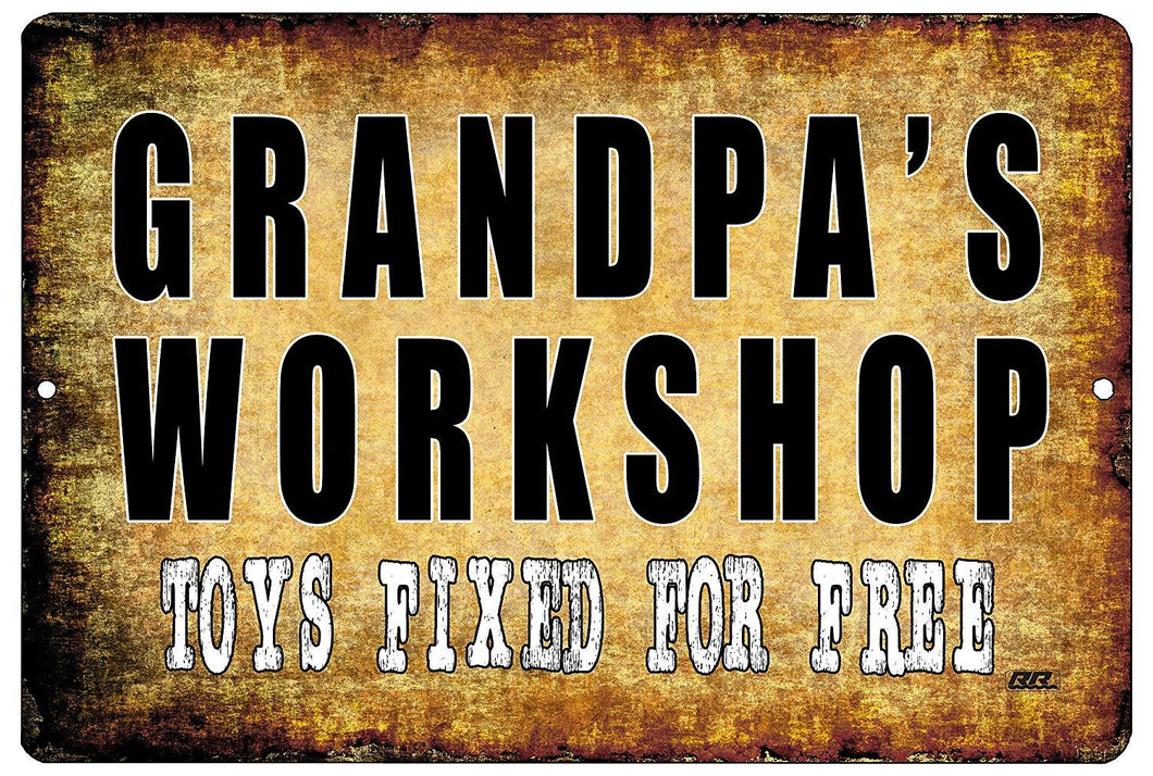 Funny Grandfather Metal Tin Sign Wall Decor Garage Man Cave Grandpa's Workshop - Mancave Signs - Rogue River Tactical  - Rogue River Tactical