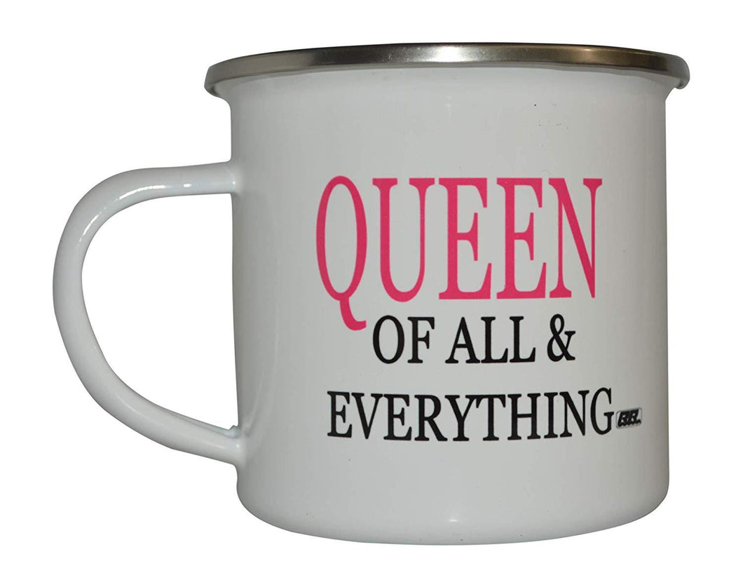 Funny Queen of All and Everything Camp Mug Enamel Camping Coffee Cup Gift For Wife Mom - Camp Mugs - Rogue River Tactical  - Rogue River Tactical