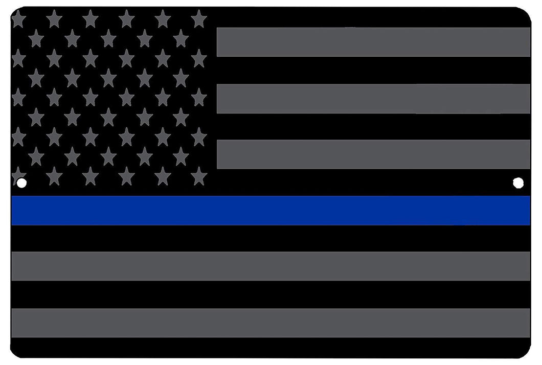 Blue Lives Matter Flag Metal Tin Sign Wall Decor Man Cave Bar Police Officer Thin Blue Line - Flag Signs - Rogue River Tactical  - Rogue River Tactical