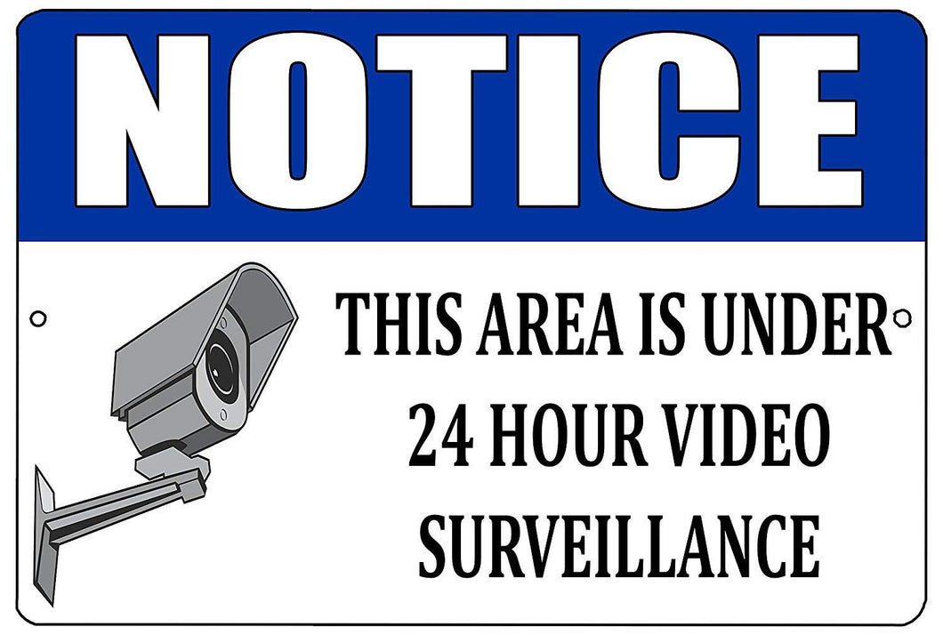 Warning Notice Camera Video Surveillance Metal Tin Sign Business Retail Store Home - Business Signs - Rogue River Tactical  - Rogue River Tactical