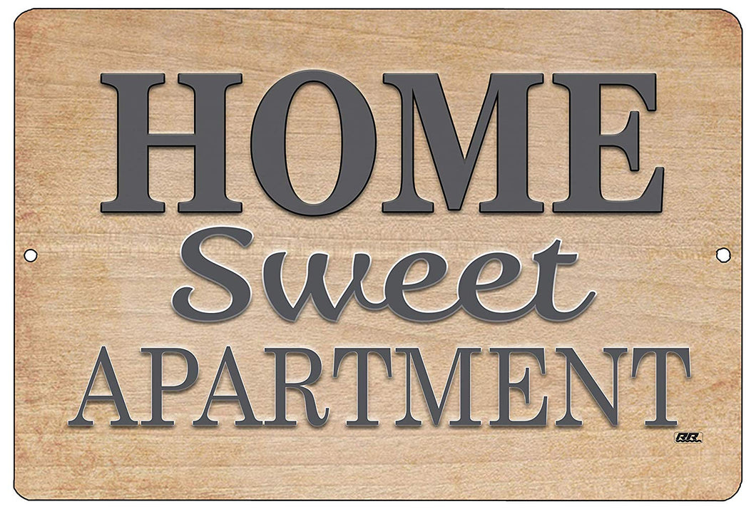 "An image of a brown metal decorative sign that says ""Home Sweet Apartment"" on it."