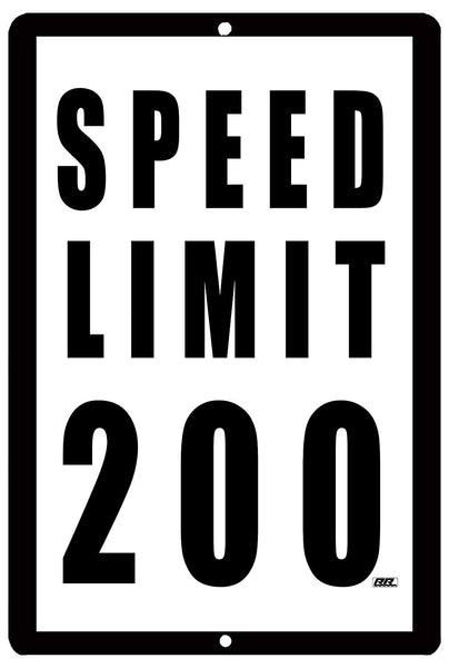 An image of a funny metal speed limit sign that is white with black lettering