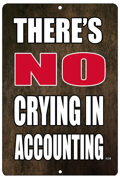 "An image of a brown funny metal sign from Nuddamakers that says ""There's NO crying in accounting"" in white and red lettering"