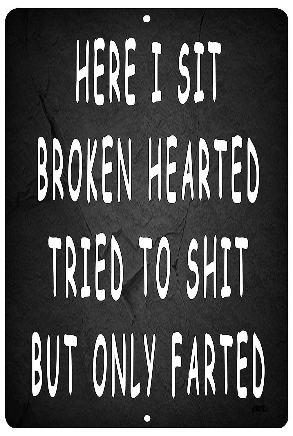 Funny Sarcastic Metal Tin Sign Wall Decor Man Cave Bathroom Here I Sit Broken Hearted - Funny Signs - Rogue River Tactical  - Rogue River Tactical