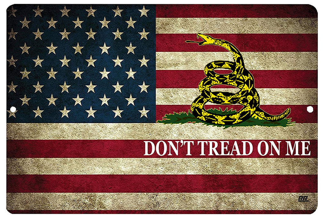 "An image of a military sign with the Gadsden flag background and the words ""don't tread on me"" in white lettering"