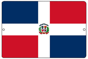 Dominican Republic Flag Metal Tin Sign Wall Decor Man Cave Bar - Flag Signs - Rogue River Tactical  - Rogue River Tactical