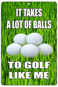 An image of an aluminum sign with a grass background and golf balls in the middle with white lettering