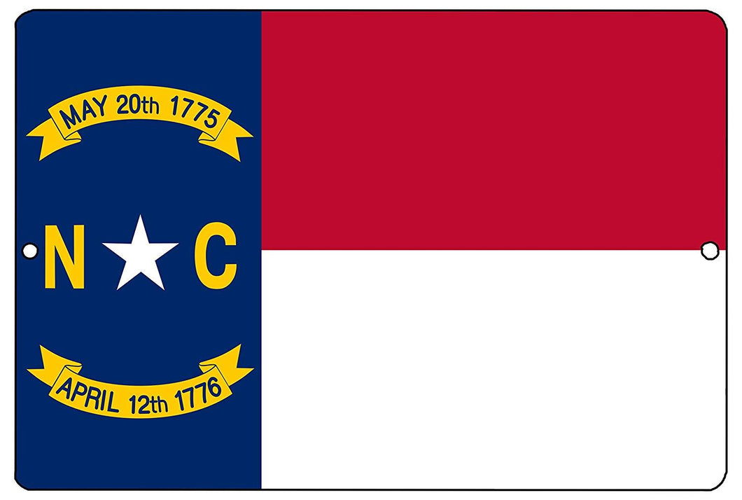 North Carolina State Flag Metal Tin Sign Wall Decor Man Cave Bar NC - Flag Signs - Rogue River Tactical  - Rogue River Tactical