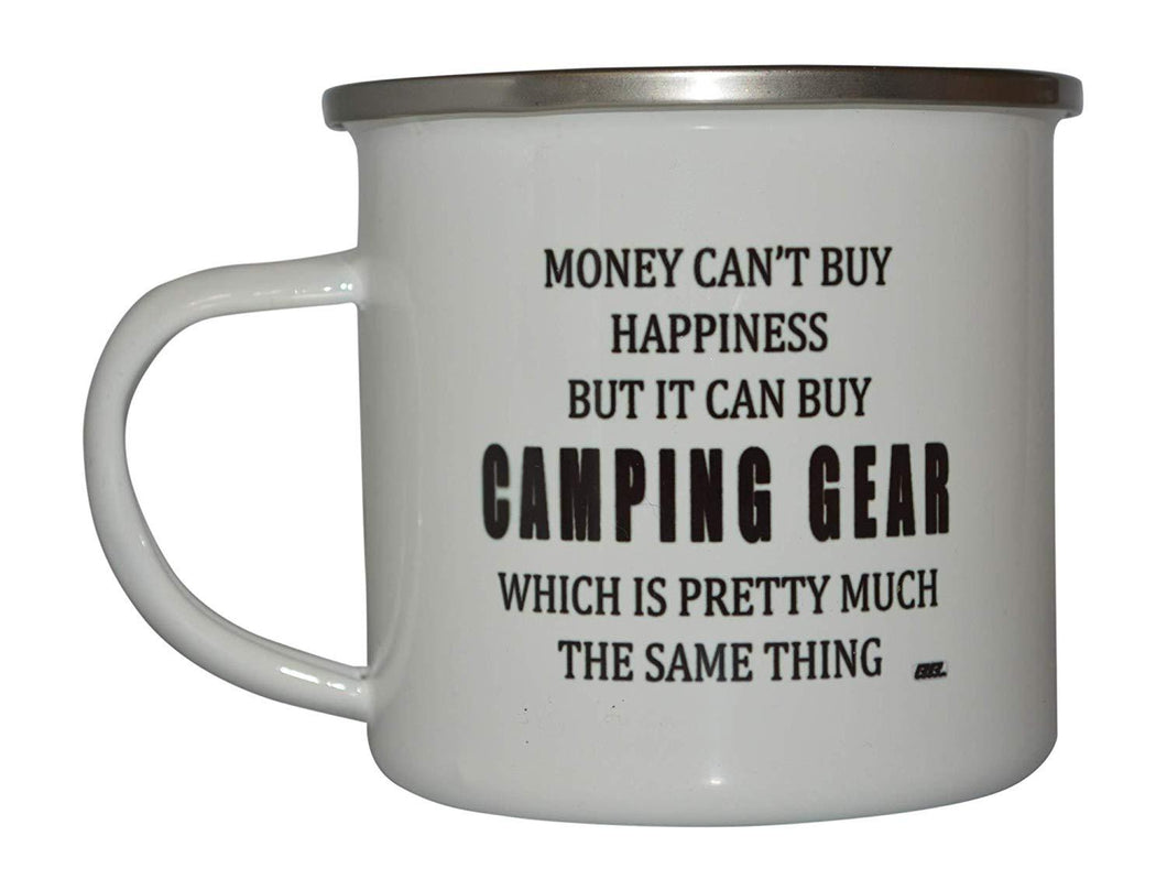Funny Camp Mug Enamel Camping Coffee Cup Gift Money Happiness Camping Gear - Camp Mugs - Rogue River Tactical  - Rogue River Tactical