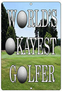 Funny Golf Metal Tin Sign Golf Wall Decor World's Okayest Golfer Man Cave Bar Golfer Ball - Funny Signs - Rogue River Tactical  - Rogue River Tactical