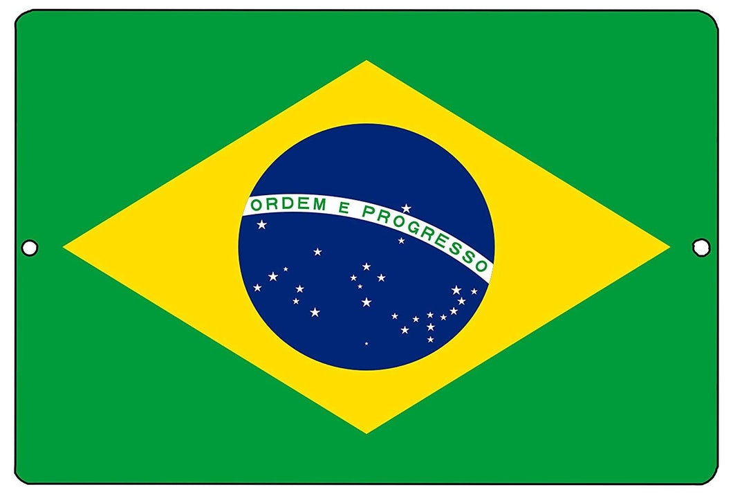 Brazil Flag Metal Tin Sign Wall Decor Man Cave Bar Brazilian - Flag Signs - Rogue River Tactical  - Rogue River Tactical