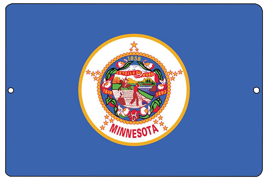 Minnesota State Flag Metal Tin Sign Wall Decor Man Cave Bar MN - Flag Signs - Rogue River Tactical  - Rogue River Tactical
