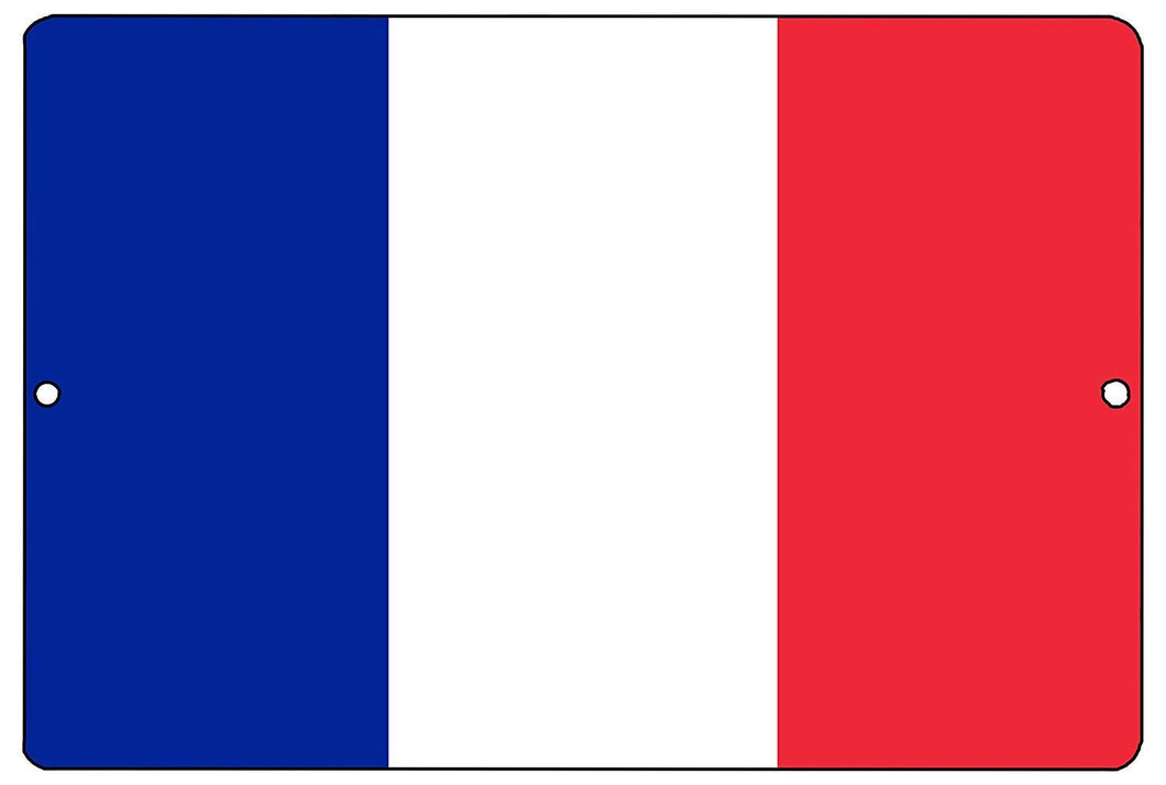 French Flag Metal Tin Sign Wall Decor Man Cave Bar France - Flag Signs - Rogue River Tactical  - Rogue River Tactical