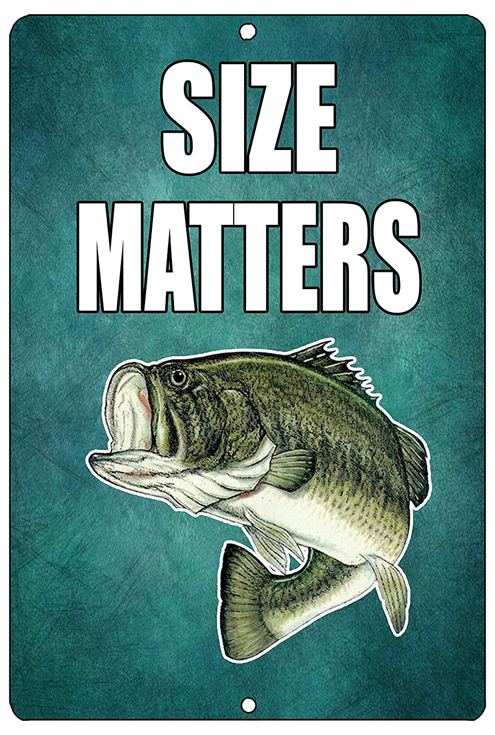 Funny Size Matters Fishing Metal Tin Sign Wall Decor Bass Fish Man Cave Bar