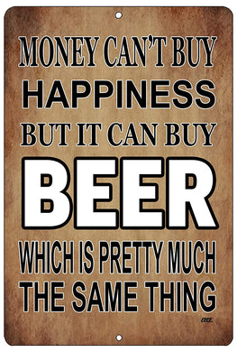 "An image of a brown funny drinking sign from Nuddamakers that says ""Money can't buy happiness, but it can buy beer which is pretty much the same thing"" in white and black writing."