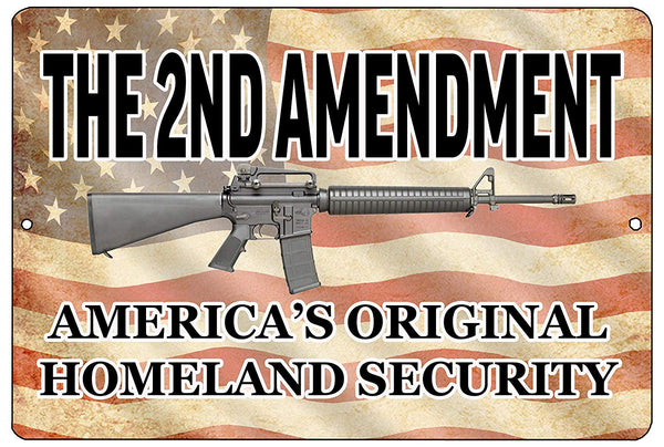 An image of a funny metal sign with a faded American flag background and a machine gun in the center surrounded by black lettering